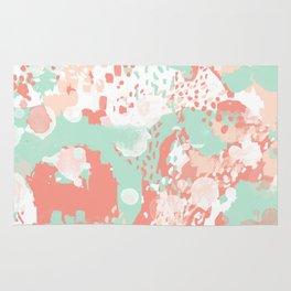 Poppy - minimal trendy gender neutral bright happy color palette nursery art Rug