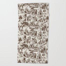 Alice in Wonderland   Toile de Jouy   Brown and Beige Beach Towel