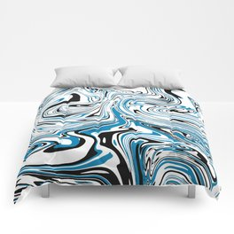 Abstract Black & Blue Topographic map Comforters
