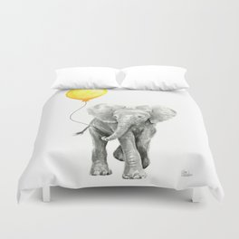 Elephant Watercolor Yellow Balloon Whimsical Baby Animals Duvet Cover