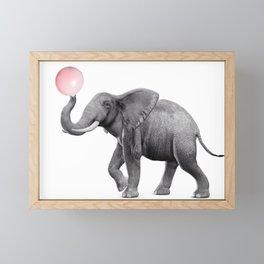 Cute  Elephant With Bubble Gum Framed Mini Art Print