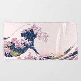 The Great Pink Wave off Kanagawa Beach Towel