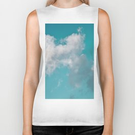Floating cotton candy with blue green Biker Tank