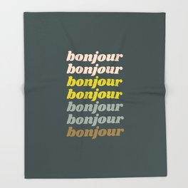 Bonjour in Pretty Pastels Throw Blanket