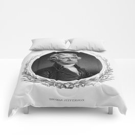 Engraving and anonymous portrait of Thomas Jefferson. Comforters