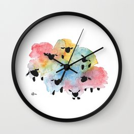 Flock of Many Colors Wall Clock