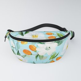 mediterranean summer kumquat and orchid branches on turquoise Fanny Pack