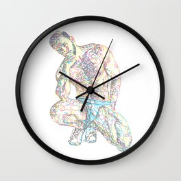 Scribble-sketch man in underwear Wall Clock