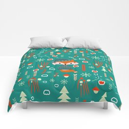 Cute fox waiting for Christmas Comforters