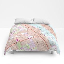 Vintage Map of Daytona Beach Florida (1952) Comforters