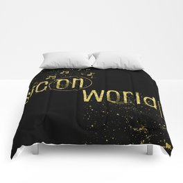 Text Art Gold MUSIC ON – WORLD OFF Comforters