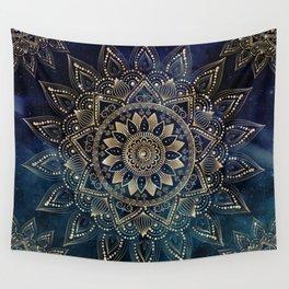 Elegant Gold Mandala Blue Galaxy Design Wall Tapestry
