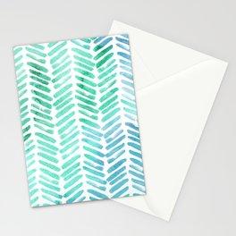 Handpainted Chevron pattern - light green and aqua - stripes Stationery Cards