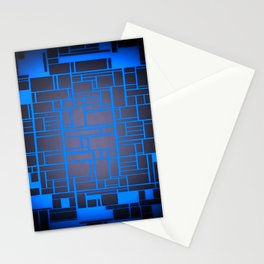 Mondrian Motherboard Blue Stationery Cards