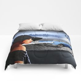 The beauty at night with vintage car Comforters
