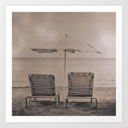 The loneliness of the deck chairs - La soledad de las tumbonas Art Print