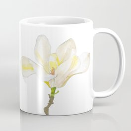 White Magnolia Watercolor Coffee Mug