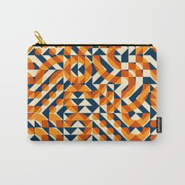 Orange Navy Color Overlay Irregular Geometric Blocks Square Quilt Pattern Carry-All Pouch