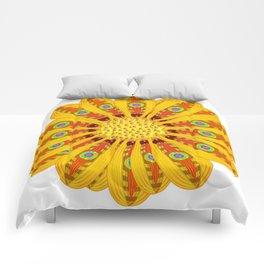 Gazania Flower Tribal Peacock Abstract Comforters