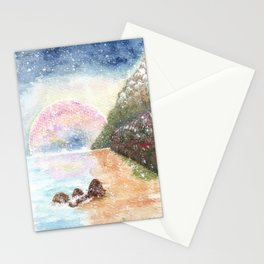 Pink Moon Watercolor Illustration Stationery Cards