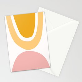 Abstract Shapes 42 in Mustard Yellow and Pale Pink Stationery Cards