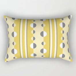 Circles and Stripes in Mustard Yellow and Gray Rectangular Pillow