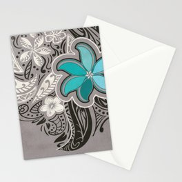 Teal Hawaiian Floral Tattoo Design Stationery Cards