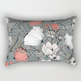 Seamless pattern design with hand drawn flowers and floral elements Rectangular Pillow