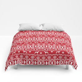 Whippet fair isle dog breed pattern christmas holidays gifts dog lovers red and white Comforters