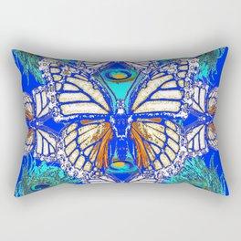 TURQUOISE & CREAM COLORED BUTTERFLIES  BLUE PEACOCK ART Rectangular Pillow