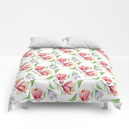 Elegant modern hand painted pink lilac watercolor magnolia floral Comforters