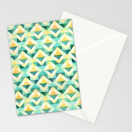 Quilted Diamond // Geometric Watercolor Pattern Stationery Cards