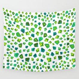 Green beautiful hand drawn gems. Wall Tapestry