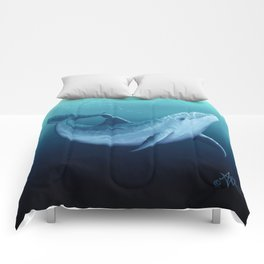 """""""Riversoul Blue"""" by Amber Marine ~ Dolphin Art, (Copyright 2014) Comforters"""