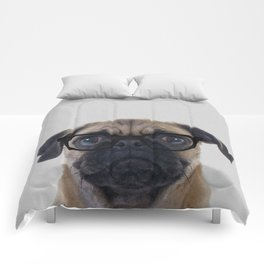 Geek Pug with Glasses Comforters