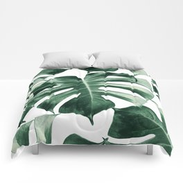 Tropical Monstera Leaves Dream #2 #tropical #decor #art #society6 Comforters
