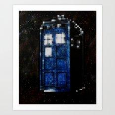 8 Bit Pixelated Tardis Doctor Who Art Print