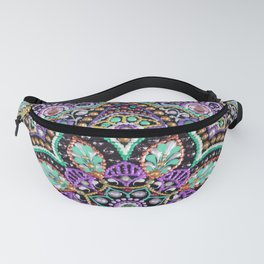 Purple and mint dot art acrilyc painted flower Fanny Pack