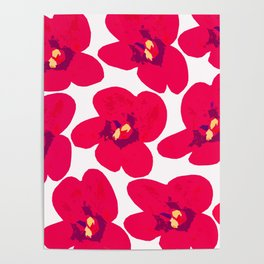Red Retro Flowers #decor #society6 #buyart Poster