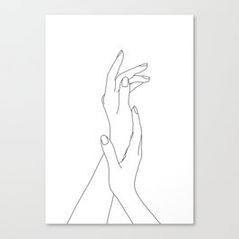 Hands line drawing illustration - Dia Canvas Print