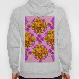 Pink Coral Cerise Roses & Daffodils Floral Hoody