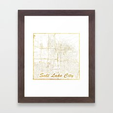 Salt Lake City Map Gold Framed Art Print