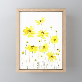 yellow cosmos flowers watercolor Framed Mini Art Print