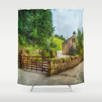 country Shower Curtains featuring  Country Stables by Fine Art by Rina
