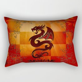 Awesome dragon with floral elements Rectangular Pillow