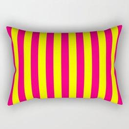 Super Bright Neon Pink and Yellow Vertical Beach Hut Stripes Rectangular Pillow