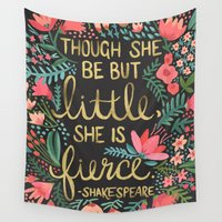 typography Wall Tapestries featuring Little & Fierce on Charcoal by Cat Coquillette