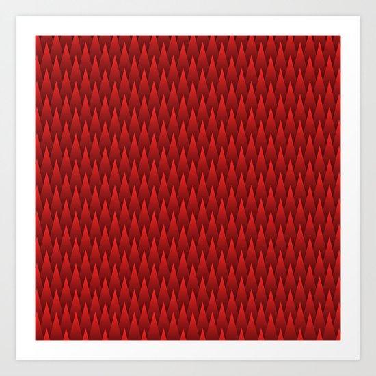 Spiky Chevrons, Red/Black Art Print