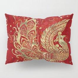Golden Phoenix Bird on red Pillow Sham
