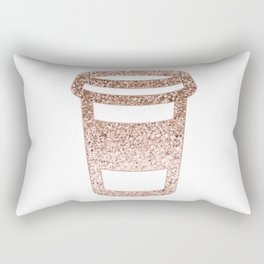 Sparkling rose gold coffee cup Rectangular Pillow